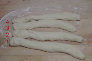 4 dough strands numbered 1 - 4